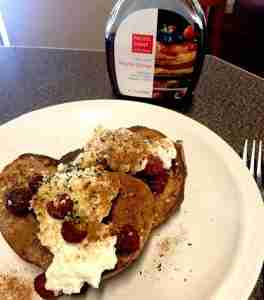 French toast, served on top of raspberries.